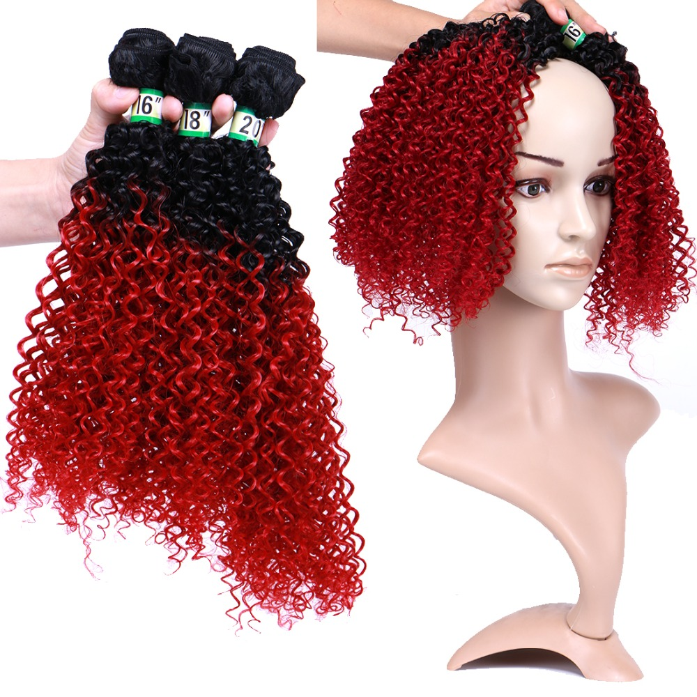 Angie extensões de cabelo sintético, cabelo encaracolado preto a roxo afro