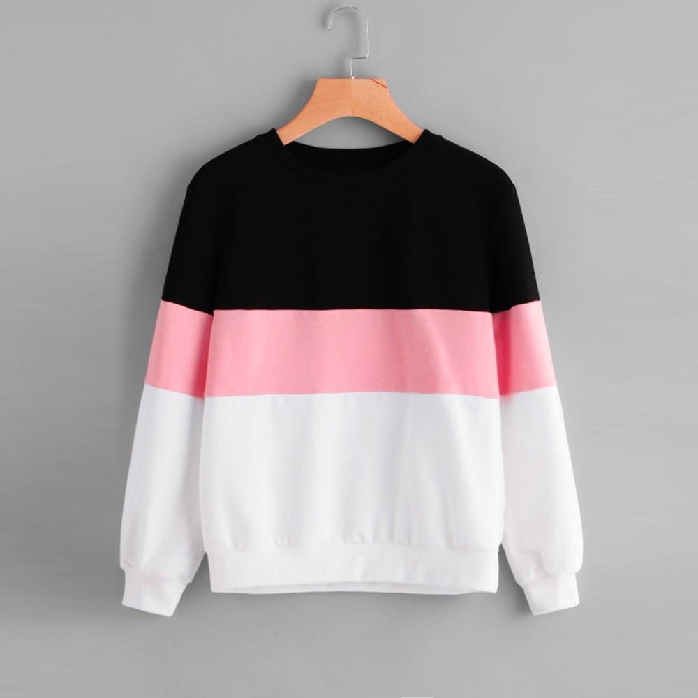 2020 Women's Hoodies Long Sleeve Cut Sew Pullover Stripe Hoodie Print Sweatshirt Blouse Top