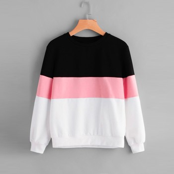 2020 Women's Hoodies Long Sleeve Cut Sew Pullover Stripe Hoodie Print Sweatshirt Blouse Top men cut and sew panel hoodie
