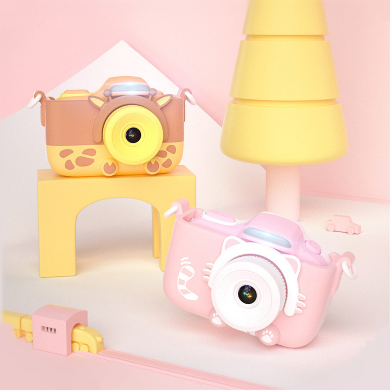 Children's Cartoon Mini Digital Camera 1600W HD Double Lens Camera Toy Small SLR LED Fash Portable Video Recorder For Kids Gift