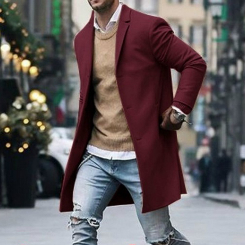 Otoño Invierno para hombre chaqueta de mezcla de lana sobretodo masculino Casual sólido cuello ceñido abrigos largo de algodón Trench wear Streetwear R