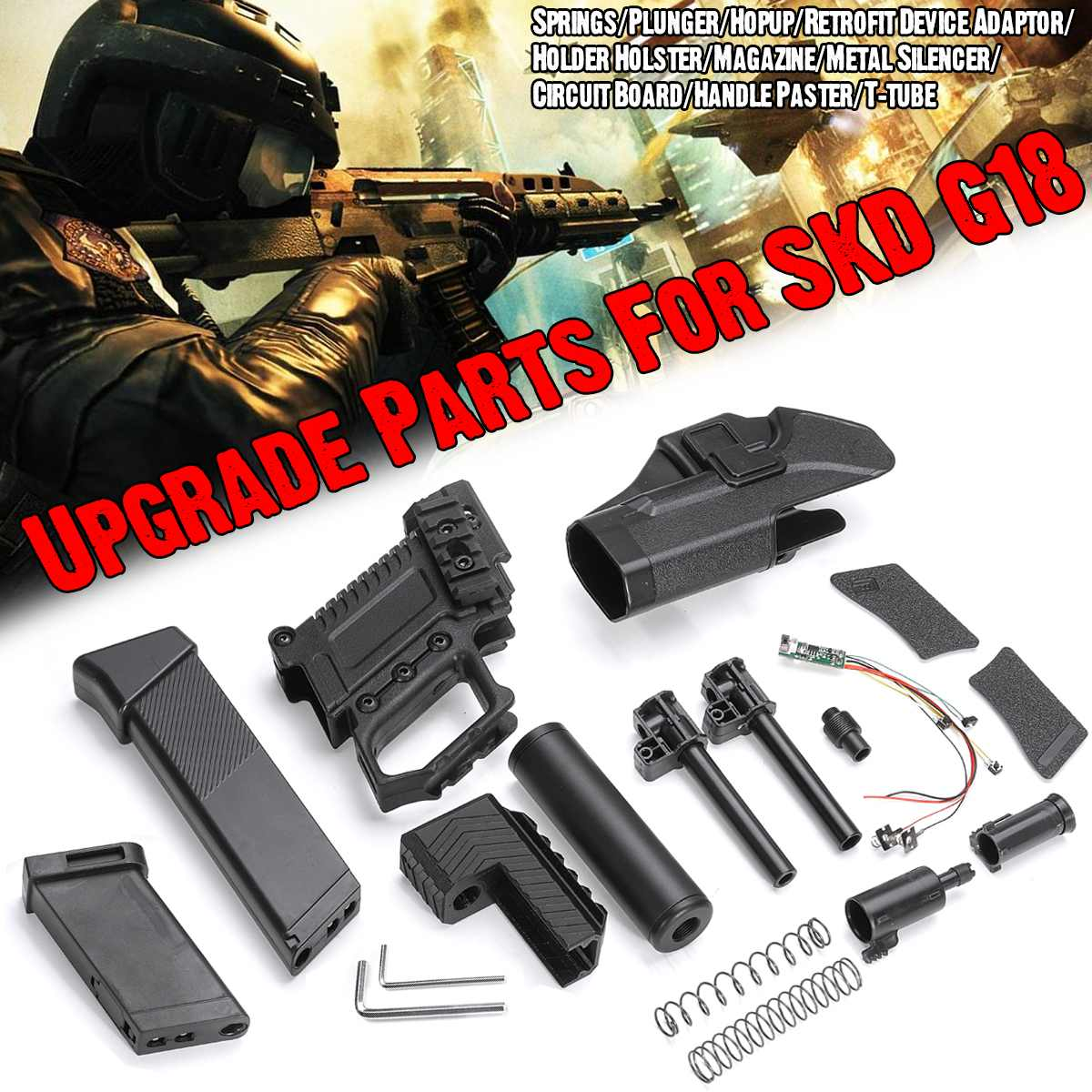 G18 Plunger/Springs/3D Printed HGopup/Black T-tube/Plastic Handle /Short Magazine/Long Magazine Paster Upgrade Parts For SKD G18