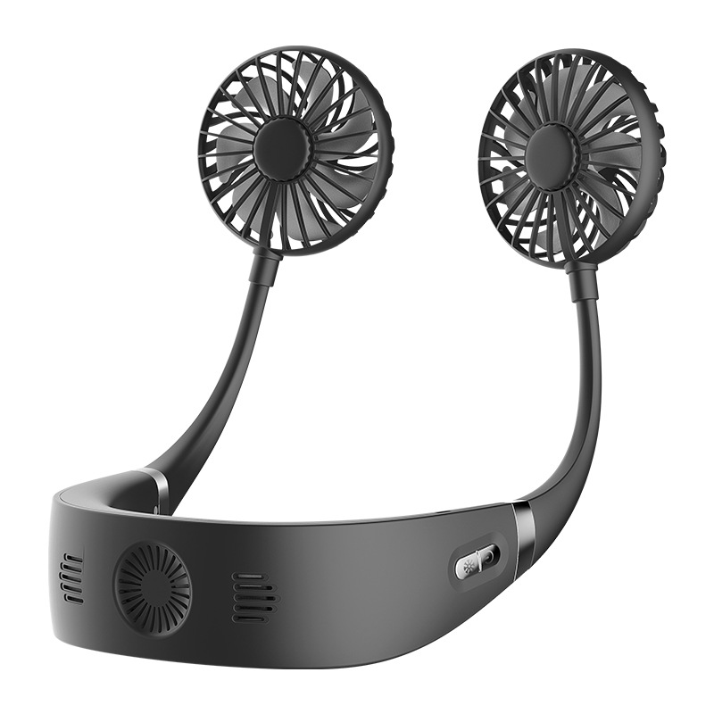 Portable Lazy Sports Halter Fan 2 Fans Mini Hanging Neck Fan USB Rechargeable Cover Halter Cooling Fan