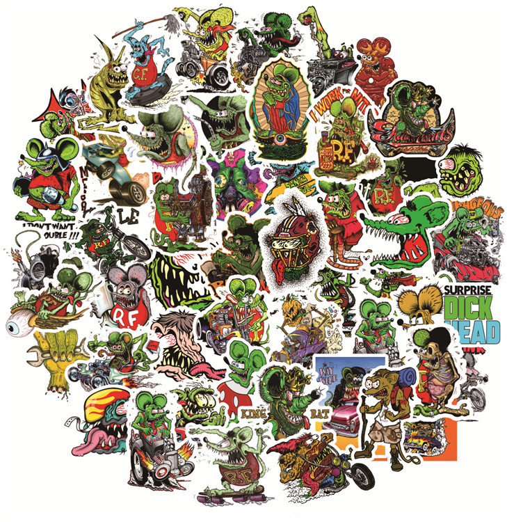 50pcs Rat Fink Stickers Ratfink PVC Car Sticker For Skateboard Suitcase Refrigerator Motorcycle Decal Horror