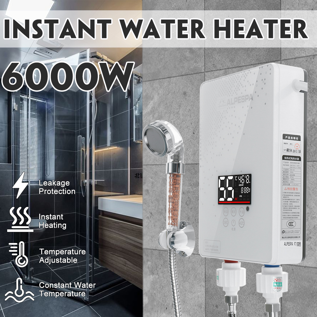 6000W 220V Instantaneous Water Heater Mini Instant Electric Tankless Hot Water Heater Shower Kitchen Faucet Bathroom Shower