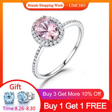 UMCHO 925 Sterling Silver Ring Oval Classic Pink Morganite Rings For Women Engagement Gemstone Wedding Band Fine Jewelry Gift(China)