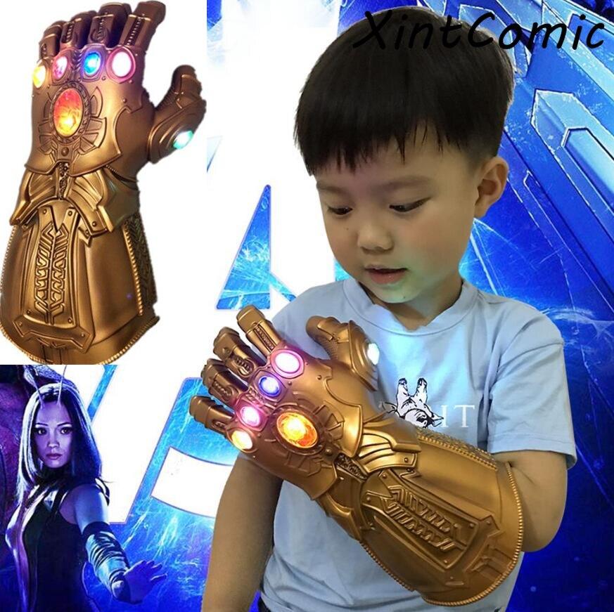 For Avengers Thanos 4 Endgame Thanos Gloves Led Infinity Gauntlet Infinity Stones War Led PVC Glove Mask Kids Adult Halloween