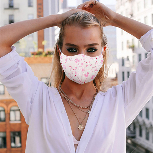 Re-usable Washable Designer Fabric Women's Face Covering Mask 3 Pack Cotton Dustproof Anime Cartoon Kpop tapabocas lavables#w 1