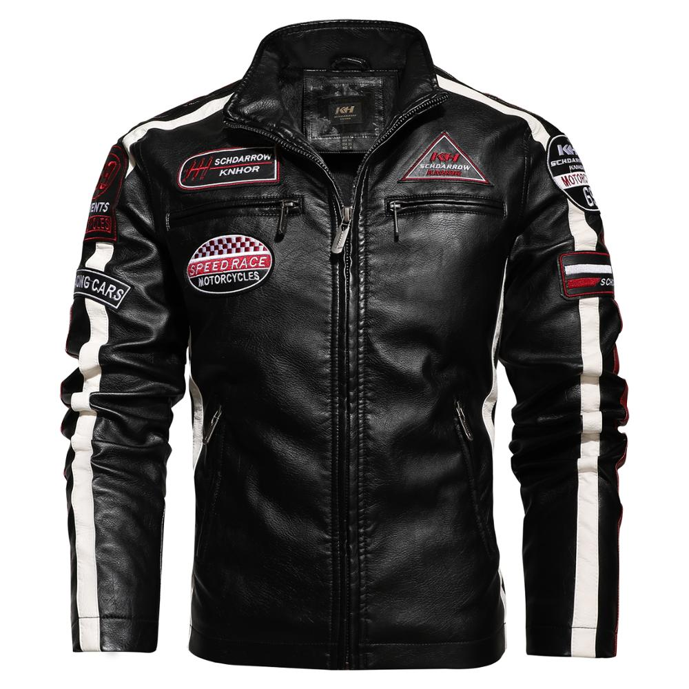 New Motorcycle Jacket For Men In Autumn/Winter 2020 Fashion Casual Leather Embroidered Aviator Jacket In Winter Velvet  Pu Jacke