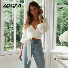 лучшая цена ZOGAA Autumn Winter Knitted Sweaters Fashion V Neck Long Sleeve Lace Up Short Pullovers Female Girls Kawaii Sweater Tops 2019
