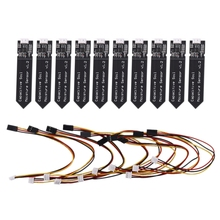 10 adet kapasitif toprak nem sensörü modülü korozyona dayanıklı geniş gerilim tel Analog kapasitif toprak nem sensörü V1.2