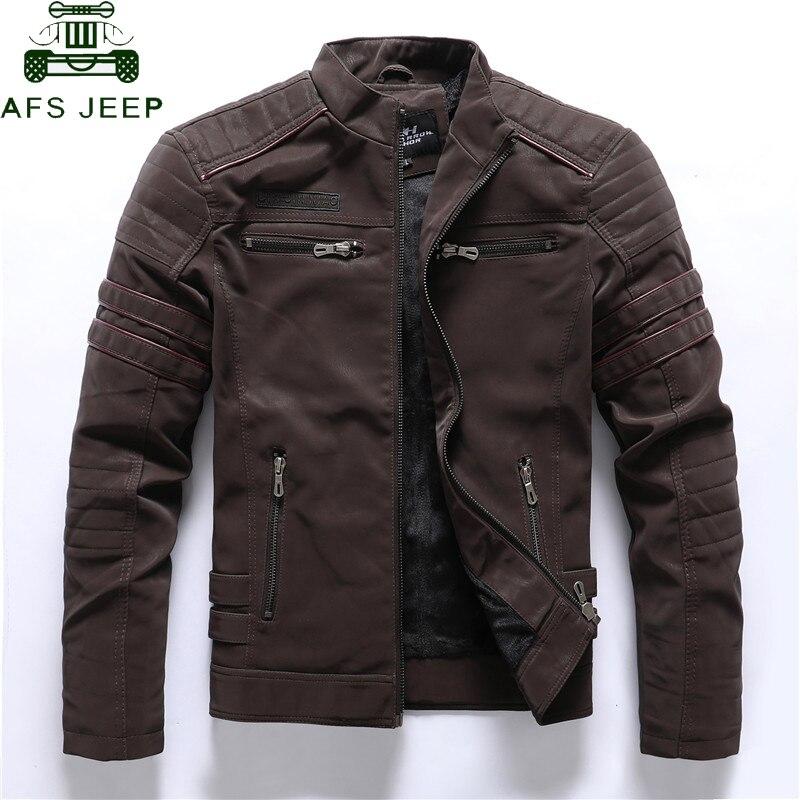 Autumn Winter Motorcycle PU Leather Jacket Men 2020 Vintage Embroidery Fleece Warm Multi-pocket Leather Coat Male European Size