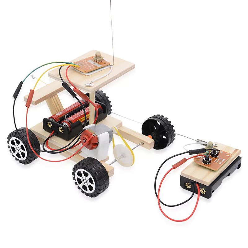 Diy Toy Wireless Remote Control Racing Model Kit Wood Kids Physical Science Toys