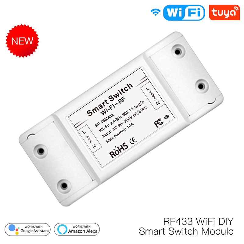WiFi DIY Smart Switch Module RF433 Remote Control For Smart Automation APP Smart Life/Tuya Work With Alexa And Google Home