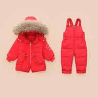 HSSCZL 2019 Children Clothing Set Jumpsuit Snow Jacket+bib Pant 2pcs Set Baby Boy Girls Duck Down Jacket Coat winter fur 18M 3A
