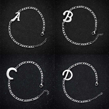 Dowaka Initial Bracelet For Men Stainless Steel Letter Pendant Bracelet Women Charms Chain Silver Color Fashion Jewelry Gifts