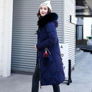 Image 3 - Casaco de inverno de pele grande, feminino, parka, costura, slim, longo, para inverno, de algodão y07
