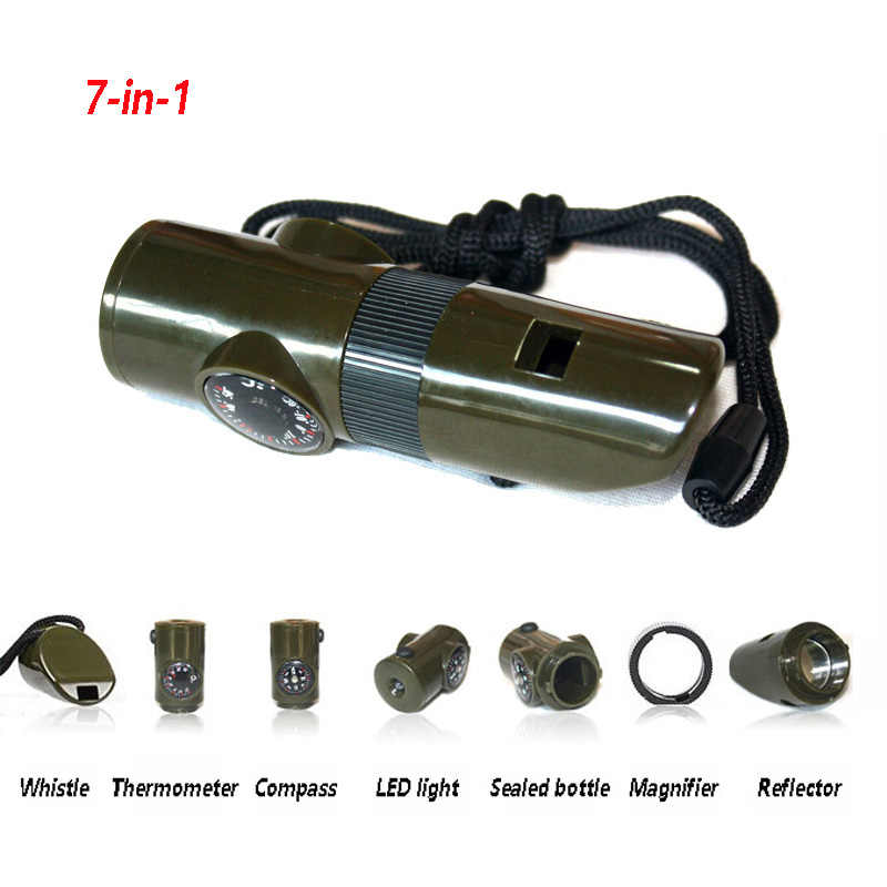 7-in-1 multi-functional Whistle Compass LED Light First Aid Portable for Survive Outdoor Sports Home SOS Emergency Thermometer