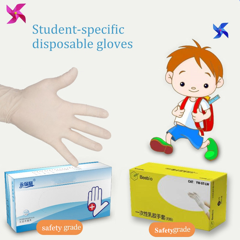 100PCS Children Disposable Nitrile Gloves Kids School Protective Gloves Safety Hand Cover Food Grade Mittens Gloves Latex White