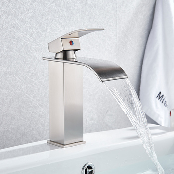 Bathroom Waterfall Basin Sink Faucet Black Faucets Brass Bath Faucet Hot&Cold Water Mixer Vanity Tap Deck Mounted Washbasin tap 9
