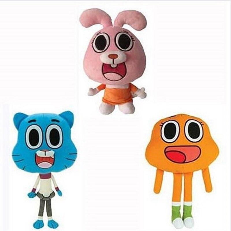 New 25cm Cartoon Amazing World Gumball Darwin Anais Plush Doll Stuffed Toys For Baby