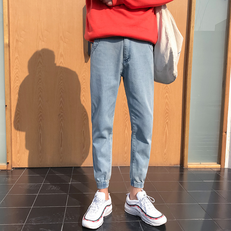 Korean-style Elasticity Beam Leg Capri Pants Teenager Slim Fit Casual Retro Jeans Students Skinny Harem Pants