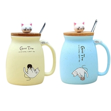 2 шт., новая термостойкая чашка с изображением кота кунжута, цветная чашка с крышкой, чашка с котенком, молочная кофейная керамическая кружка, детская чашка, офисные подарки-Bei