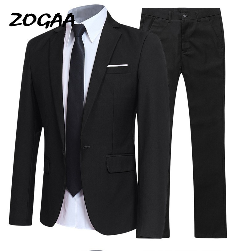 ZOGAA Men's Suit 2 Piece Pants Business Uniform Office Set Wedding Groom Slim Single Button Casual Formal