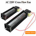 1 adet çapraz akış fanı AC 220V 50/60Hz 12W 10W rulman Crossfow havalandırma 200mm 180mm opsiyonel