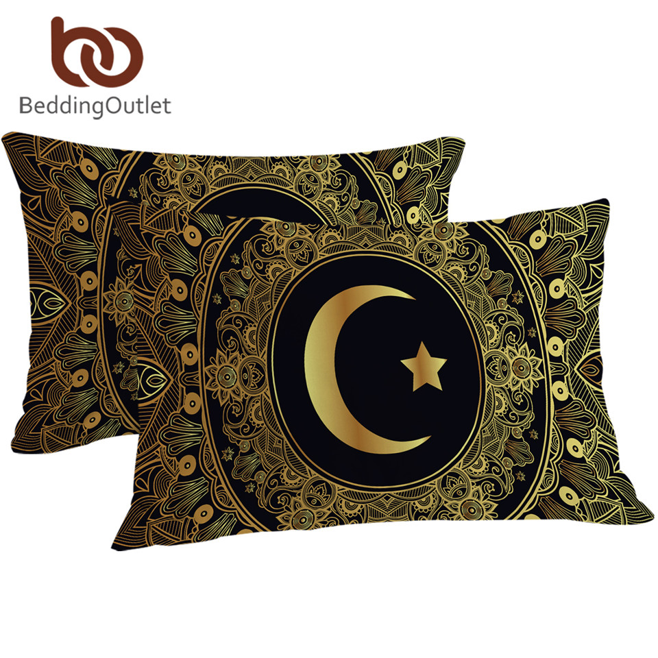 BeddingOutlet Golden Mandala <font><b>Pillow</b></font> <font><b>Case</b></font> Moon and Star Pillowcase Fashion <font><b>Pillow</b></font> Cover 50x75cm <font><b>50x90cm</b></font> One Piece image