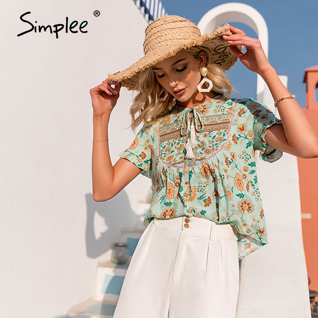 Simplee Ethnic holiday floral print loose women blouse summer Casual bow sash tassel shirts female Ruffled o-neck short top lady 1