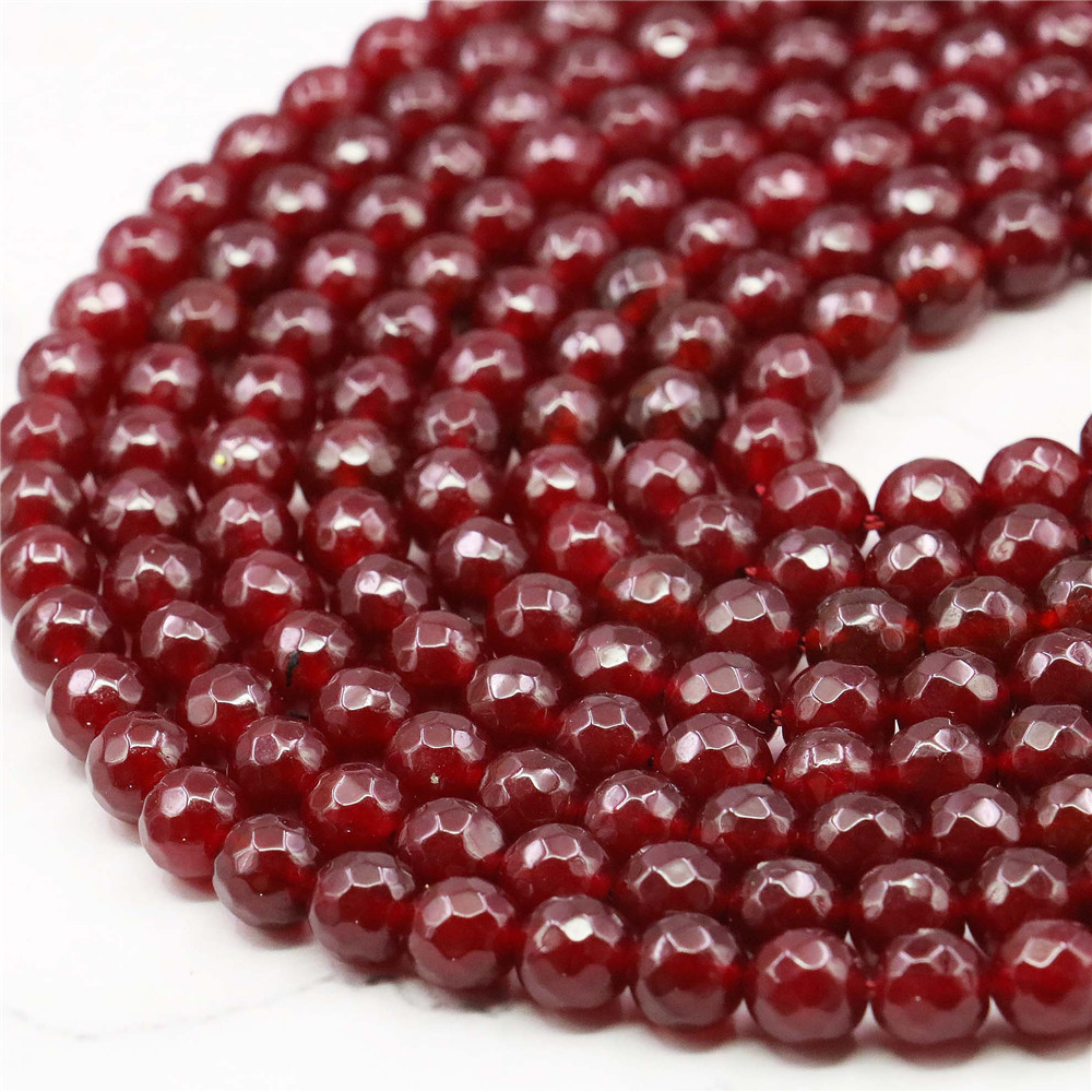 Red Rubys Chalcedony Stone Faceted Round 8mm Loose Beads Strand Fashion Jewelry Making Design Natural Stone Gift For Girl Women