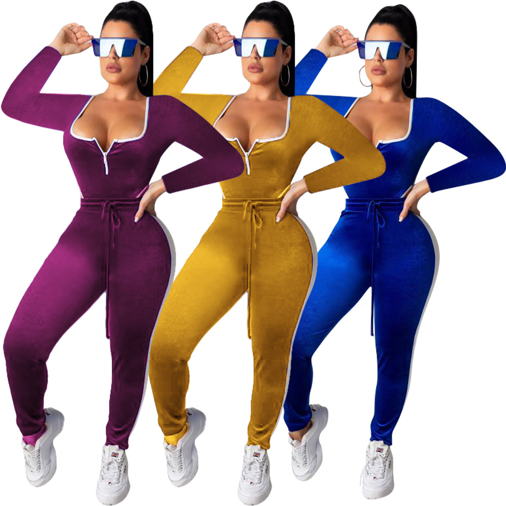 Sporty Autumn Fall Velvet Women's set long sleeve bodysuit pencil pants suit active wear two piece set tracksuit jumpsuit