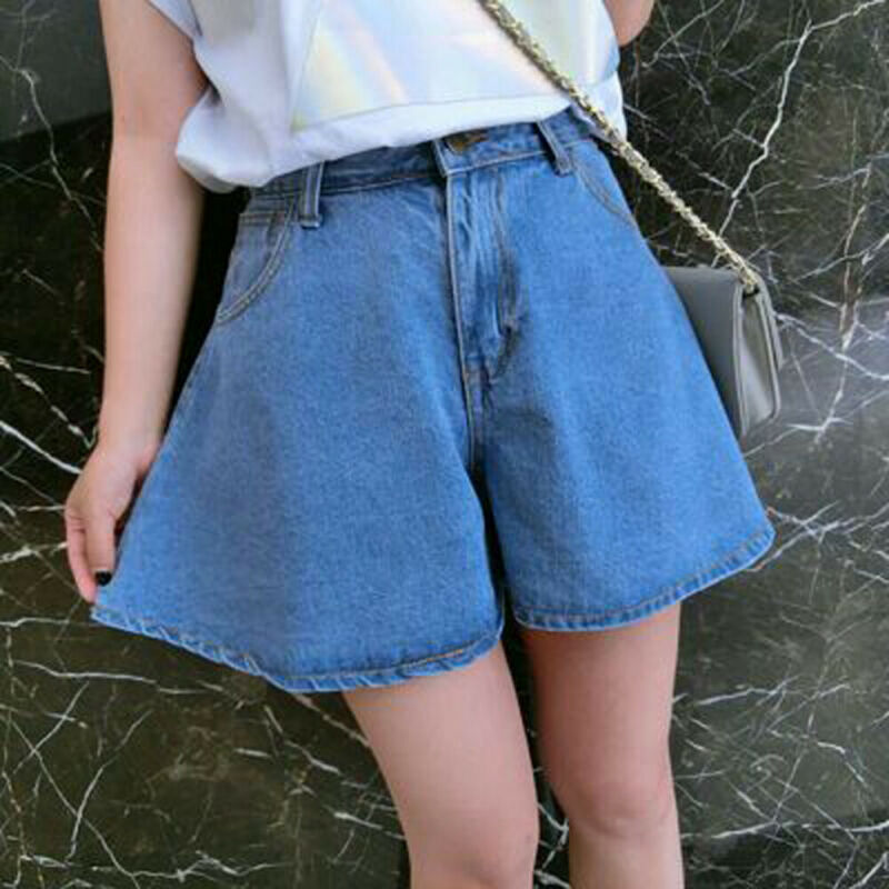 Fashion Women Denim Shorts Summer Casual Loose Flare Short Jeans High Waist Solid Casual Beach Holiday Slim Hot Shorts Trousers