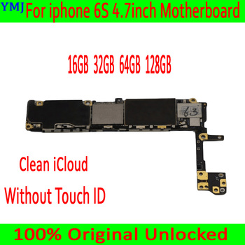For iphone 6S 4.7inch Motherboard Original unlocked Logicboard 16GB 64GB 128GB MB Plate for iphone 6S Mainboard without Touch ID