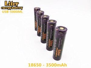 Image 2 - Batería para ordenador portátil, 4 piezas de batería de energía USB 5000ML Li ion recargable de la batería USB 18650 de 3500mAh 3,7 V Li ion batería + cable USB