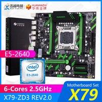 Huananzhi x79 conjunto de placa mãe X79 ZD3 rev2.0 m.2 matx com intel xeon E5 2640 6 núcleos 2.5 ghz cpu suporte ecc/reg 128 gb ram Placas-mães     -