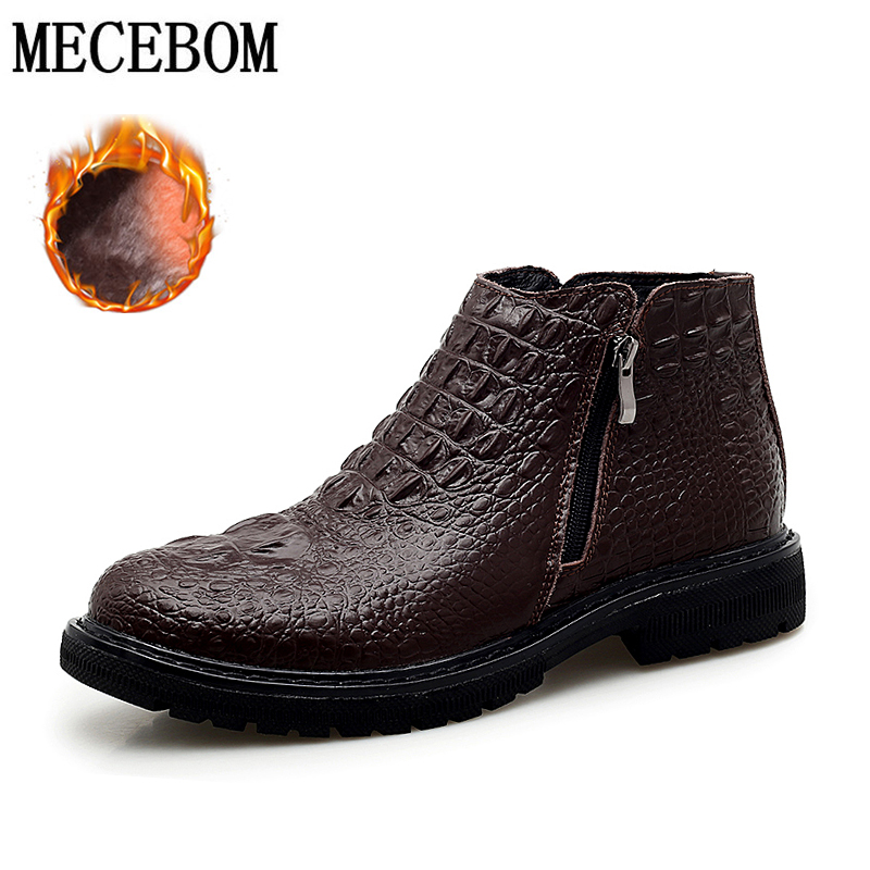 Men's Boots Winter High Quality Cowhide Leather Boots High Top Plush Keep Warm  Big Size 39-46 Ankle Boots Men's Shoes