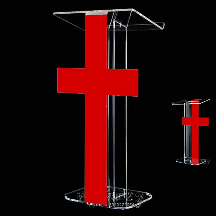 Best Selling  Pulpit Lectern White & Red Color Easy Assembly Detachable Hotel Rostrum For Conference Church Exhibition