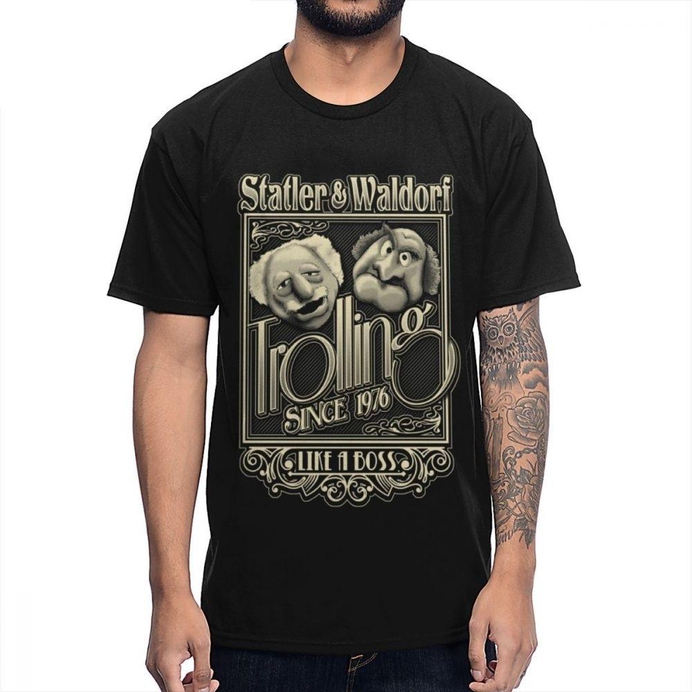 Vintage Show Muppet Statler Waldorf T Shirt Male High-Q Graphic Print T-Shirt Round Neck Quality Cotton Camiseta