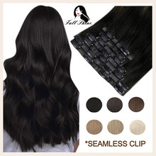 Full Shine Seamless Clip in Human Hair Extensions 8Pcs 100g Pure Color Blond Hair Pu Clip on Machine Remy Extension Skin Weft