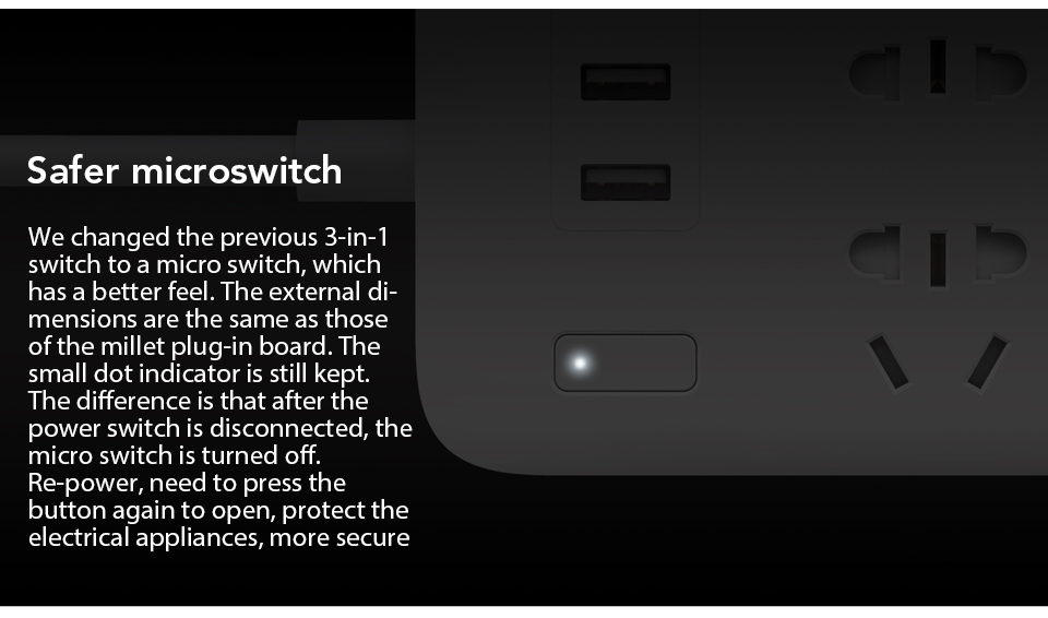 Original Xiaomi Mijia Power Strip Basic Version 6 Sockets With 3 5V 2.1A Fast Charging USB Ports White Mi Socket (6)