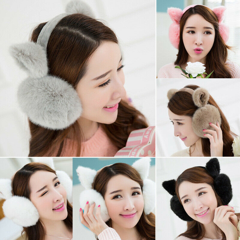 Fashion Fuzzy Women Girl Earmuffs Winter Warm Cute Cat Ear Hick Solid Soft Plush