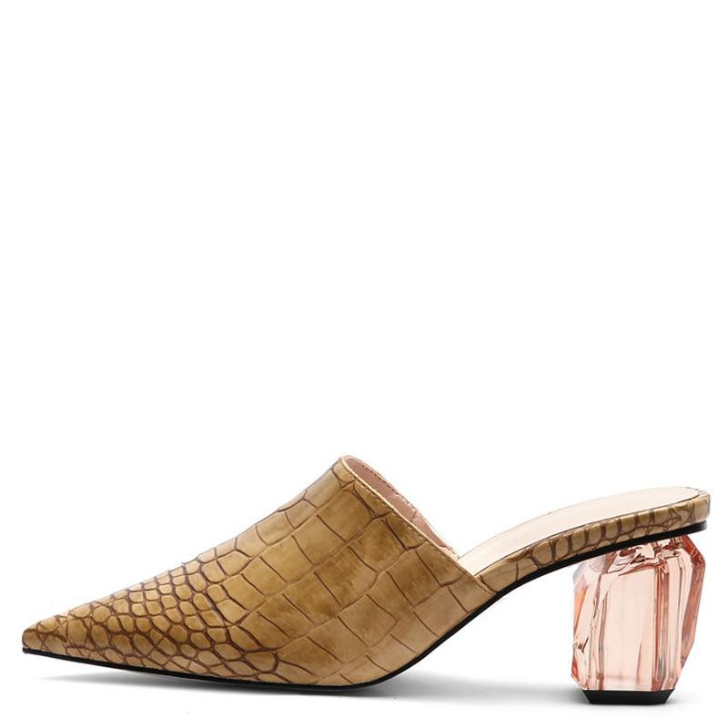 YECHNE Summer Women Snakeskin Pattern Slipper Transparent Hooks Shoes Punch Shoe Women Snakeskin Pattern Sandals Brown