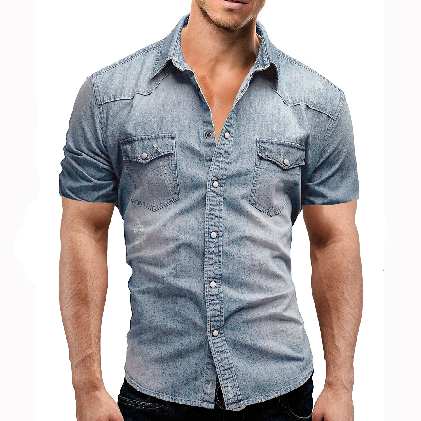 Men's Regular-fit Long-Sleeve Denim Work Shirt Two Button Front Chest Pockets & Pencil Slot Rugged Wear Thin Casual Cotton Shirts 4