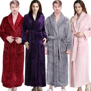 Unisex Thermal Flannel Extra Long Bathrobe 1