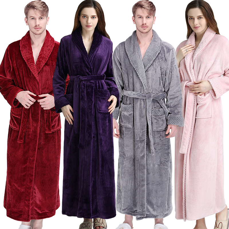Women Men Thermal Luxury Flannel Extra Long Bath Robe Winter Sexy Grid Fur Bathrobe Warm Kimono Dressing Gown Bridesmaid Robes