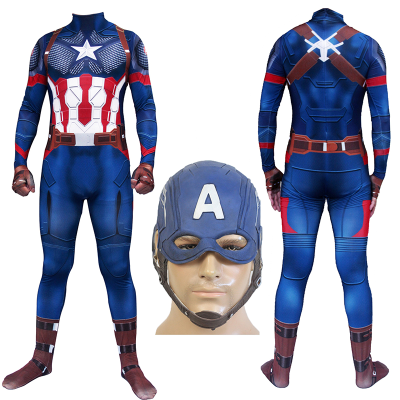 Captain America Mask Cosplay Costume Steve Rogers Costume Digital Printing Zentai Jumpsuits Avengers Endgame Adults Kid Bodysuit