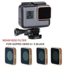 Para gopro hero 5 6 preto câmera nd8 nd16 nd32 filtro de lente nd lente protetor filtro substituição câmeras esportivas acessórios