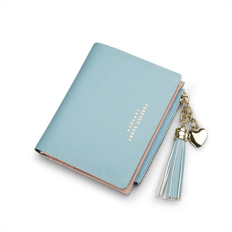 Женский кошелек с кисточками, Маленький милый кошелек для женщин, короткие кожаные женские кошельки, кошельки на молнии, портмоне, женский клатч - Цвет: Blue